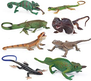 8pcs Lizard Animal Figurines Realistic Reptile Animal Figures Chameleon Prank Props Scary Toy Playset Wilde Life Creatures