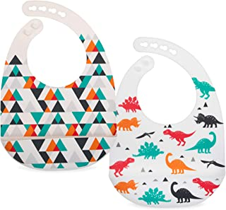 Nuby 2 Pack Adjustable Easy Clean Soft Silicone Bibs with Scoop, Triangles & Dinosaurs