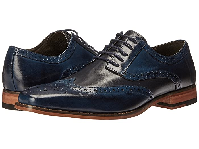 1950s Mens Shoes: Saddle Shoes, Boots, Greaser, Rockabilly Stacy Adams Tinsley Wingtip Oxford CobaltNavy Mens Lace up casual Shoes $93.71 AT vintagedancer.com