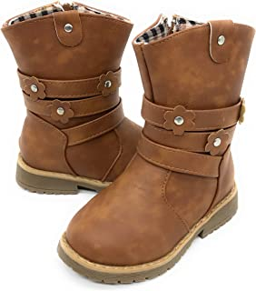 EASY21 Girls Fashion Cute Toddler/Infant Winter Snow Boots (4 M US Toddler, Tan29)