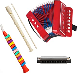 Set Of 4 Combo Music Piano Horn, Soprano Descant Recorder 8-Hole, Kid's Accordion, and Harmonica
