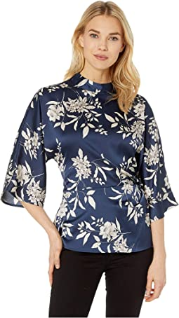 Elbow Sleeve Etch Bouquet Fold-Over Side Blouse