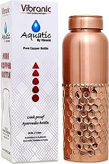 Copper Water Bottle 34oz Half Diamond Hammered Leak Proof, Perfect Ayurvedic Copper Vessel for Sports, Fitness, Yoga, Natu...