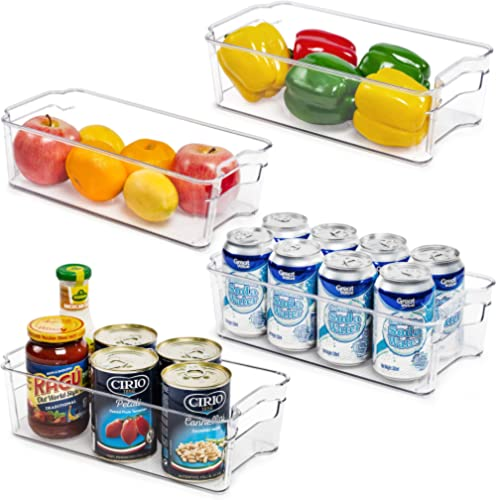 Refrigerator Organizer Bins, Vtopmart 4 Pack Medium Clear Plastic Food Storage Bin with Handle for Freezer, Cabinet, ...