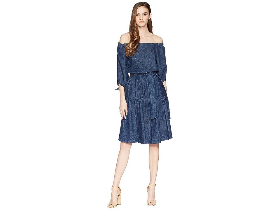 LAUREN Ralph Lauren Denim Fit-and-Flare Dress (Expedition Blue Wash) Women