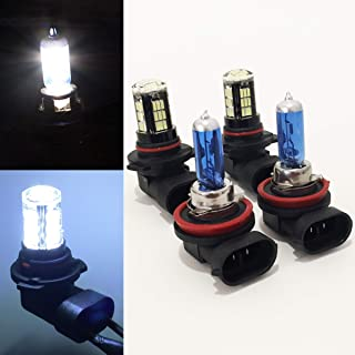 CK Formula (Pack of 4 Pieces) H11 Halogen White + 9005-HB3 Crystal Clear 42 LED Xenon Headlight Light Bulbs (High/Low Beam) Super Bright USA Seller