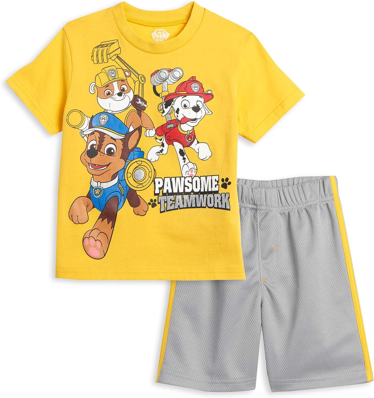 Nickelodeon Paw Patrol Chase Marshal Rubble T-Shirt & Shorts Set - Blue/Orange