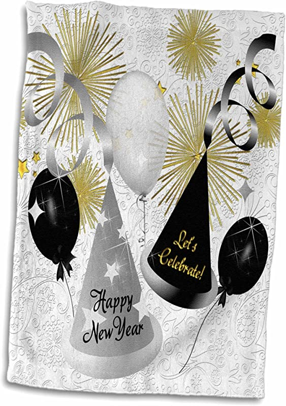 3D Rose Happy New Black White And Gold Not Year Specific TWL 52310 1 Towel 15 X 22