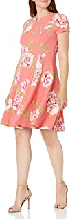 Jessica Howard womens Short Sleeve Fit and Flare Dress Casual Dress