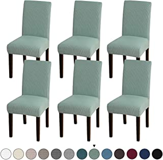Turquoize Dining Room Chair Covers Stretch Dining Chair Slipcover Parsons Chair Covers Chair Furniture Protector Covers Removable Washable Chair Cover for Dining Room, Hotel, Ceremony (6, Dark Cyan)