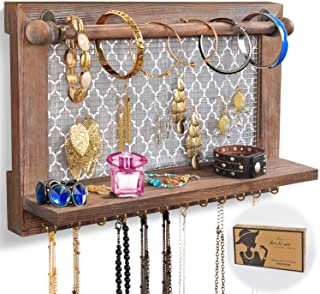 ASHLEYRIVER Wall Mounted Rustic Wood Jewelry Organizer Holder with Hooks Shelf for Hanging Earrings Necklaces Bracelets Other Accessories-Rustic