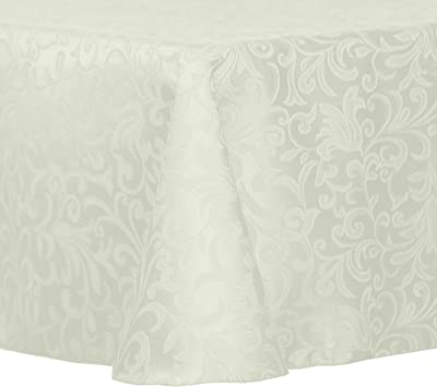 Amazon Com Ultimate Textile Vintage Damask Somerset 70 X 104 Inch Oval Tablecloth Ivory Cream Home Kitchen