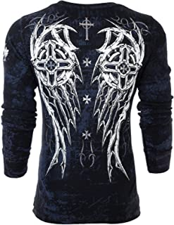 Affliction Archaic Mens Long Sleeve Thermal Shirt Spike Wings Biker