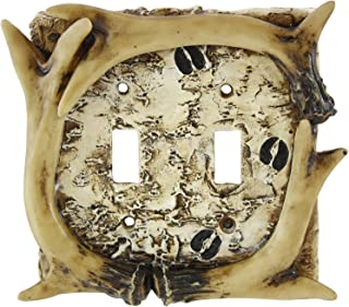 Pine Ridge Rustic Faux Deer Antler with Hooves Tracks Double Light Switch Electrical Plate Cover CVR Realistic Hand-Painted and Crafted with Mounting Screws Great for Western Rustic Home Decor