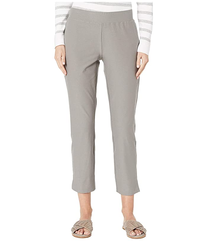 Eileen Fisher  Washable Stretch Crepe Slim Cropped Pants with Side Slits (Smoke) Womens Casual Pants