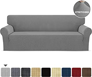SKARLES Stretch Sofa Slipcover 1-Piece Soft Couch Cover Non Slip Furniture Protector Washable with Elastic Bottom for Kids, Cats, Dogs, Spandex Jacquard Fabric Small Checks (Light Gray, Large)