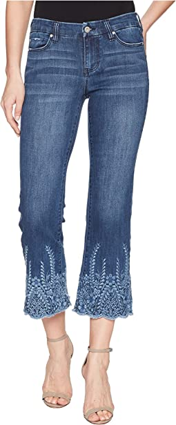 LVPL by Liverpool Coco Cropped Flare with Embroidery in Vintage Super Comfort Stretch Denim in Willow Wash