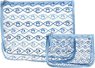 Clear Designer Zipper Insert (Set of 2) Travel Organizer Storage Pop In Bogg Bag (Waves)