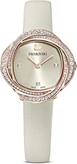 Swarovski Women's Crystal Flower Analogue Watch, White Swarovski Crystal Wristwatch with Grey Leather Strap