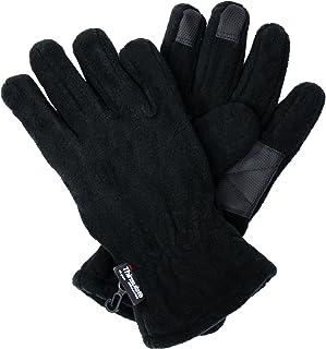 Black 3M Thinsulate Sport Thermal Fleece Gloves w/ Rubber Palm & Fingertips