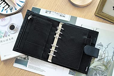 Moterm Personal Luxe Rings Planner - Genuine Leather Binder Organizer (Pebble-Black, 30mm Ring)