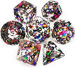 Haxtec Rainbow DND Dice Set 7PCS Polyhedral Confetti Dice for Roleplaying Dice Games as Dungeons and Dragons-Confetti Dice