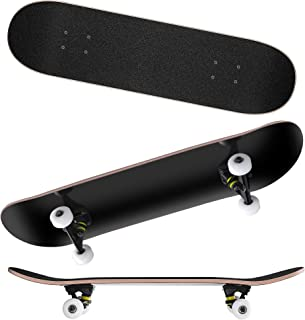 9 Layers Maple Wooden 31''x7.8'' Complete Skateboards - Max. Support 330lbs Standard Skateboards, Double Kick Concave Deck Skating Skateboard for Adults Beginners Starter Teens Kids Boys Girls Teenager As Gift