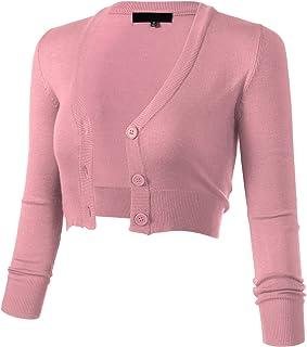 ARC Studio Women s Solid Button Down 3 4 Sleeve Cropped Bolero Cardigans (S- 6e53dff64