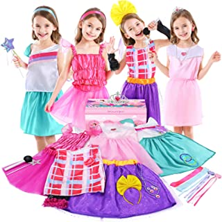Jeowoqao Girls Dress up Trunk Princess Pretend Play Costumes Set 28 Pcs, Ballerina, Superstar, Princess, Fairy Costume, Ki...