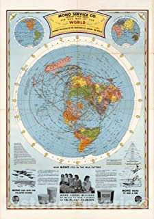 Historic Map - Air Age Map of the World. A Polar Projection, 1945 - Vintage Wall Art - 44in x 64in