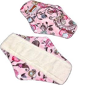 4 Bamboo Mama Cloth/Menstrual Pads/Reusable & Water Proof Sanitary Pads/Panty Liners - Prints (Royal Flowers)