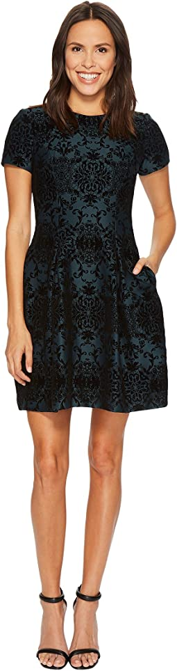 Vince Camuto - Flocked Novelty Fit and Flare Dress