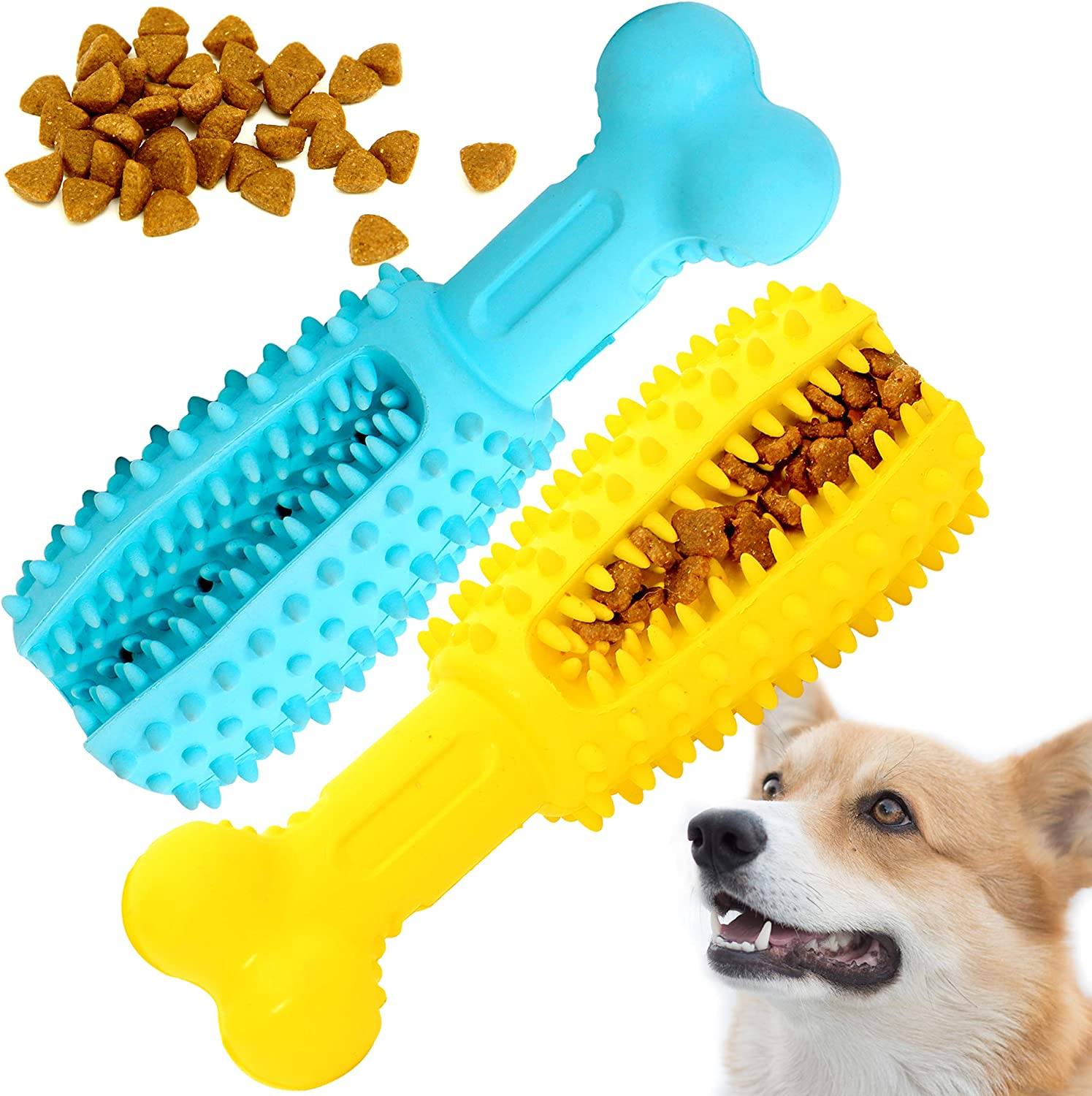Youngever 2 Pack Dog Treat Toys for Pet Teeth Cleaning, Chewing, Fetching, IQ Treat Food Dispensing Toys (Large 5.8 inch)
