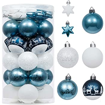 Valery Madelyn 20 Piezas Bolas de Navidad de 6cm, Adornos Navideños para Arbol, Decoración de Bolas de Navidad Plástico de Azul y Plata, Regalos de Colgantes de Navidad (Deseos de Invierno): Amazon.es: