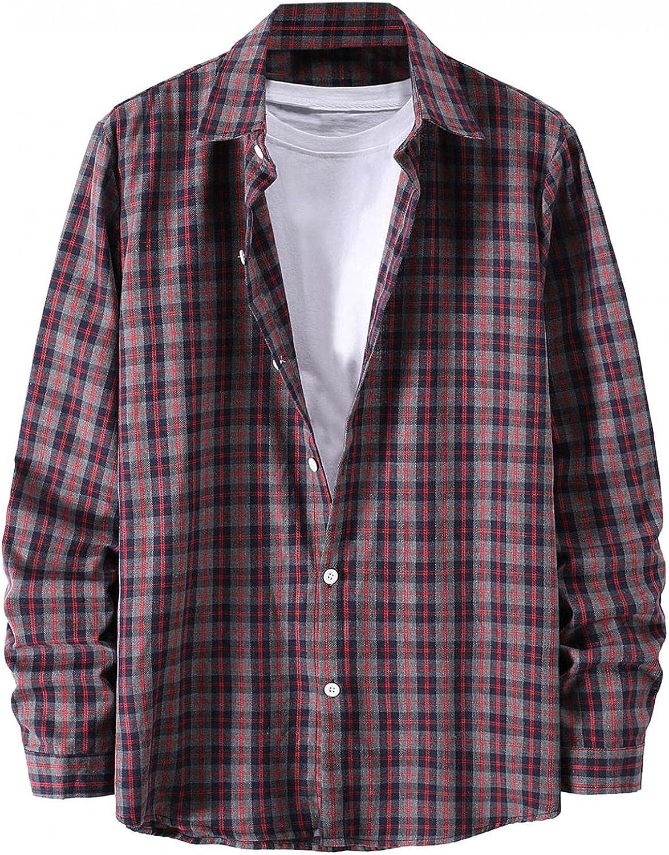 Burband Mens Fashion Flannel Shirts Long Sleeve Casual Loose Fit Button Down Plaid Dress Shirts Checkered Sweatshirts
