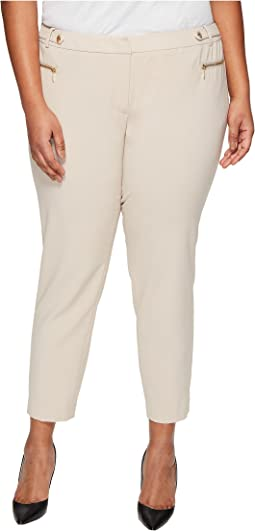 Plus Size Straight Pants with Buckle & Zip