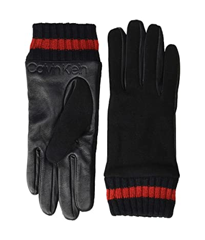 Calvin Klein Leather/Knit Combo Touch Gloves (Black) Over-Mits Gloves