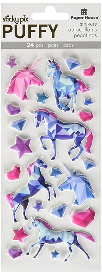 Paper House Productions Puffy Stickers, Unicorn, 3-Pack, 3 Piece