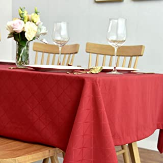 maxmill Jacquard Poly-Cotton Christmas Tablecloth Geometric Pattern SpillProof, Water Resistant Wide Hem Soft Table Cloth for Kitchen Dining Tabletop Decoration Rectangle, Red, 58x84 Inch