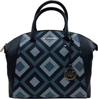 19d6ef697bc0 Michael Kors Riley Large Satchel Bag Leather Navy Pale Blue (35S8GRLS7T)