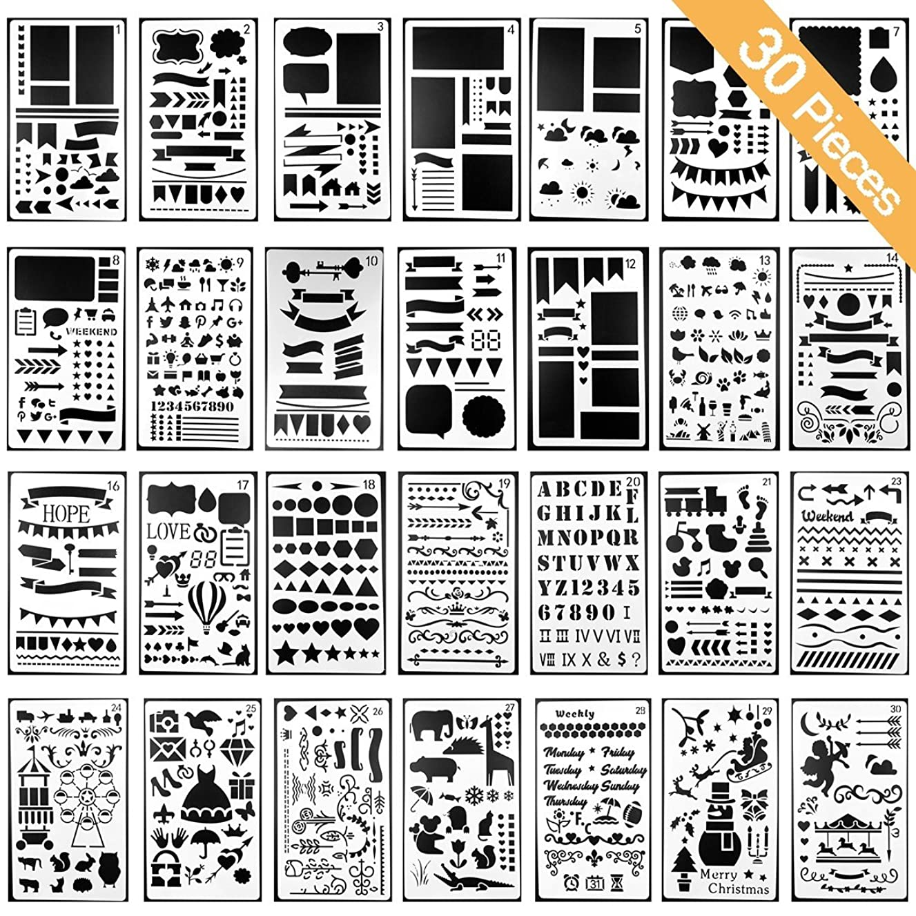 Stencils Template for DIY Scrapbooking Bullet Journaling Stencil Letters Notebook Diary Scrapbook Drawing Stamp Album Decor Embossing Paper Card School Stationery Supplies Hollow Out 30pcs 4x7inch