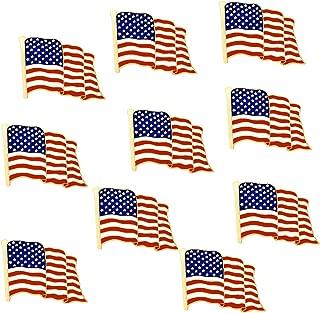 10 Pack Metal American Flag Lapel Pins Waving US USA Pins bulk United States Patriotic Pin Series veterans day pins