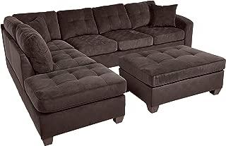 Homelegance Fabric Sectional Sofa and Ottoman Set, Chocolate