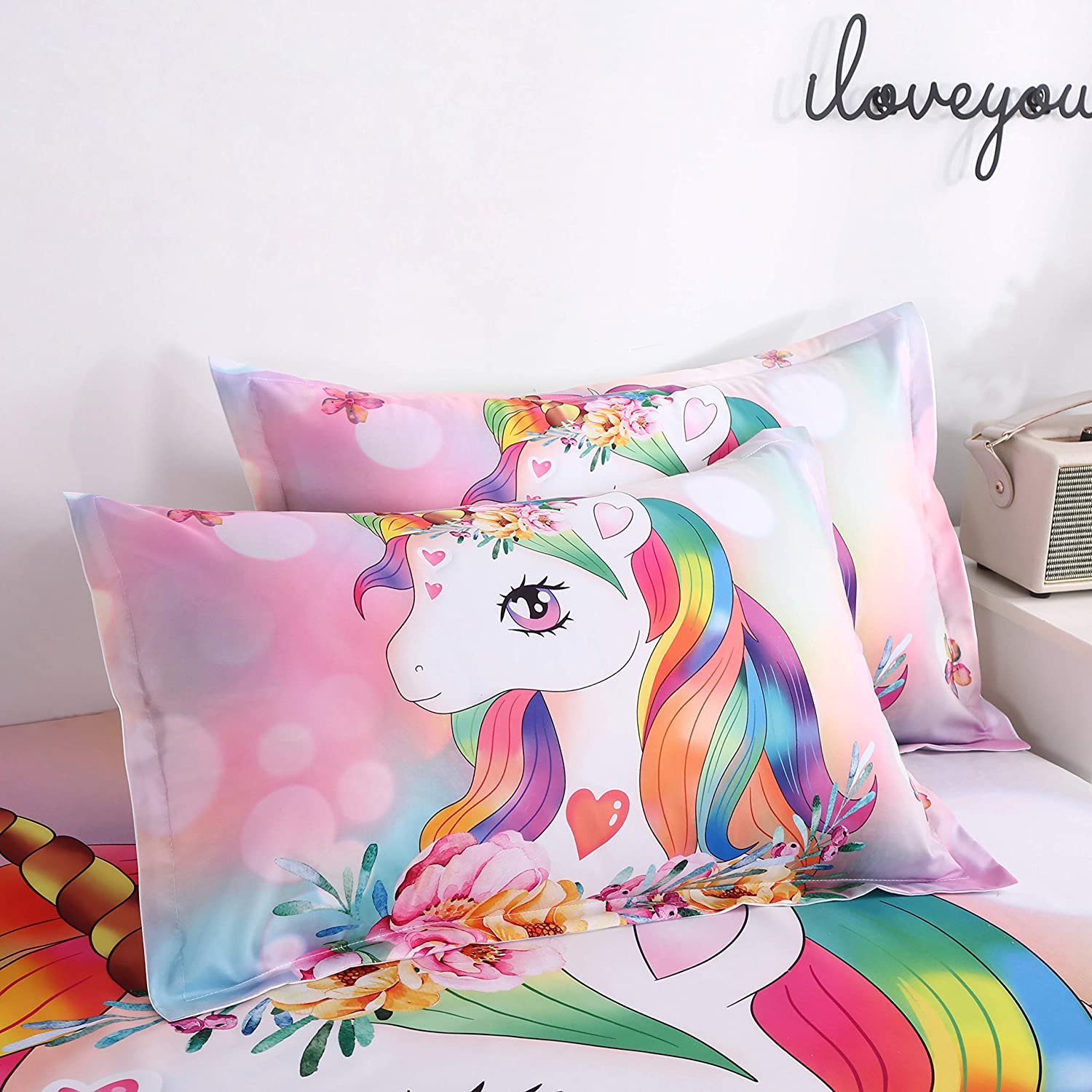 Unicorn Fitted Bed Sheet Set Kids Little Cute Princess Unicorn Soft Microfiber Breathable Bedding All-Round Elastic Pocket 2 Pieces Fitted Sheet Set for Teens and Girls Twin