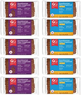 Peaceful Squirrel Variety, GG Scandinavian Crispbread Thins, Pack of 10 (2 Flavors: Original with Oat Bran and Raisins & Honey)