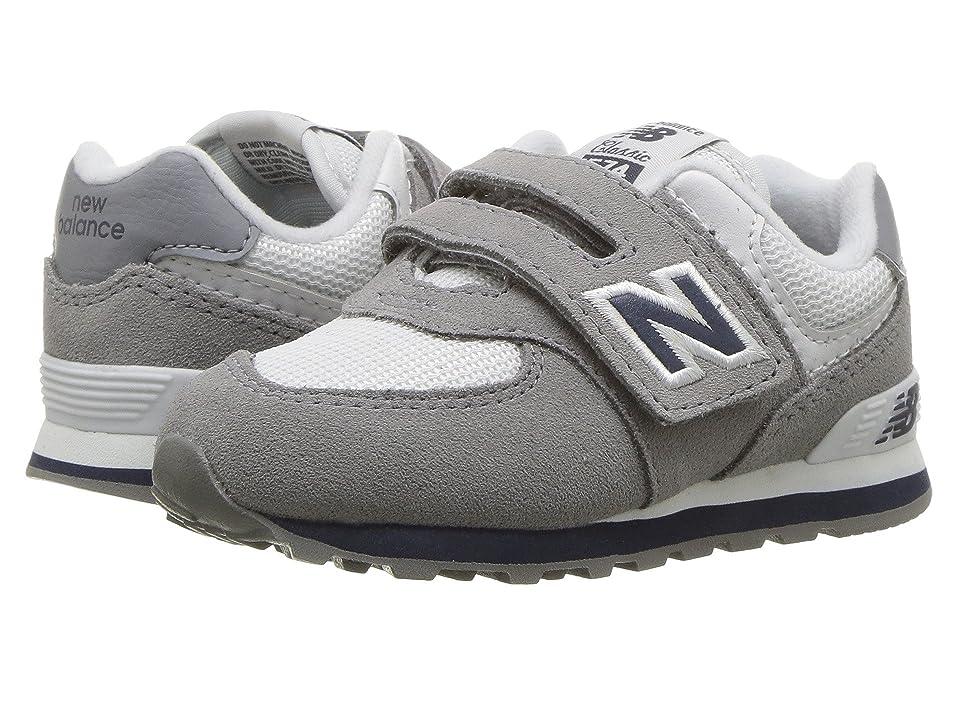 New Balance Kids IV574v1 (Infant/Toddler) (Grey/Navy) Kids Shoes