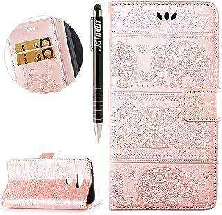 SainCat Funda LG G6, PU Leather Cover Carcasa Libro de Cuero Impresión de Tribal del Elefante PU Premium de Plegable para LG G6-Oro Rosa