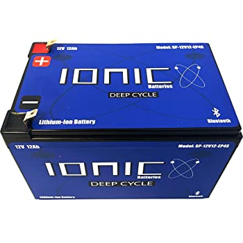 Lithium Ion Deep Cycle Battery 12V 12Ah - Ionic 12V12-EP - Built in Bluetooth Monitoring - 5 Year Warranty - Maximum 300W output per battery / Peak (3sec) 700W output per battery