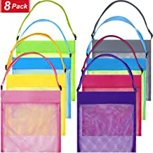 meekoo 8 Pieces Colorful Mesh Beach Bags Seashell Bags Beach Shell Bags Candy Bags for Treasure Shell Toy Birthday Wedding Halloween Christmas Storage (Color Set 1, Size Set 1)