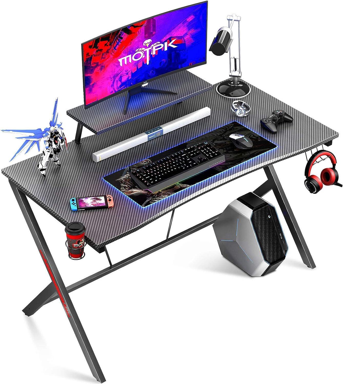 MOTPK 55% OFF Gaming Desk 39in with Carbon Fiber Shelf T Be super welcome Monitor